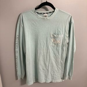 PINK light blue long sleeve top w pocket